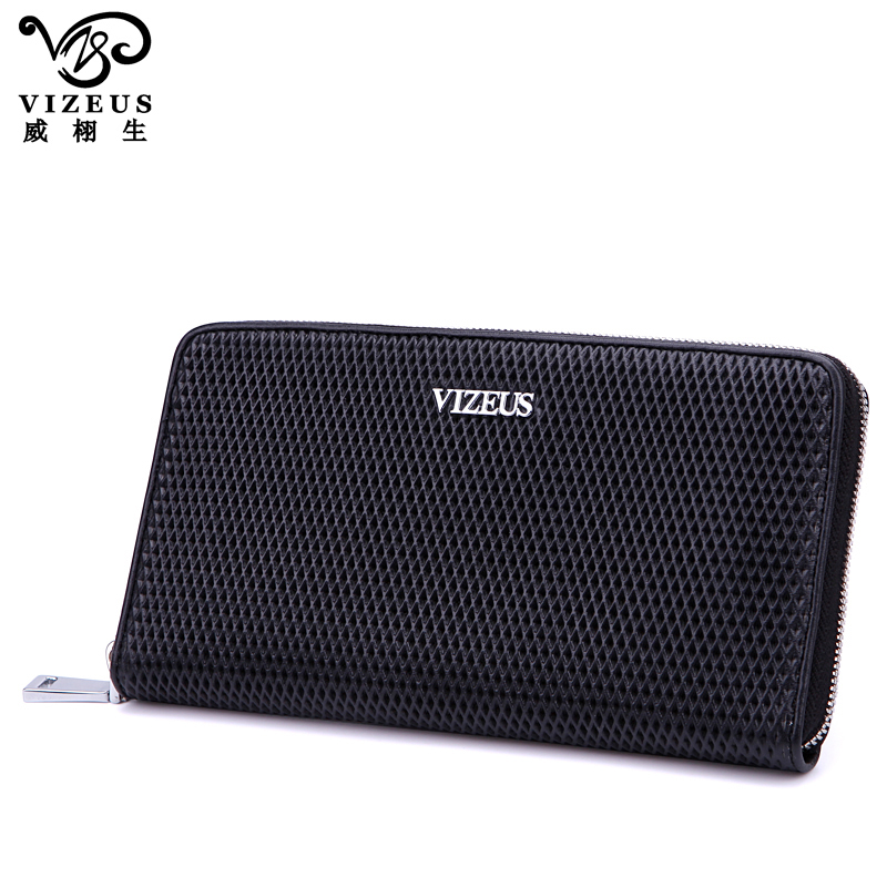Vizeus brand leather men's wallet zipper clutch purse clutch bag a long section of fashion business card bit more upscale