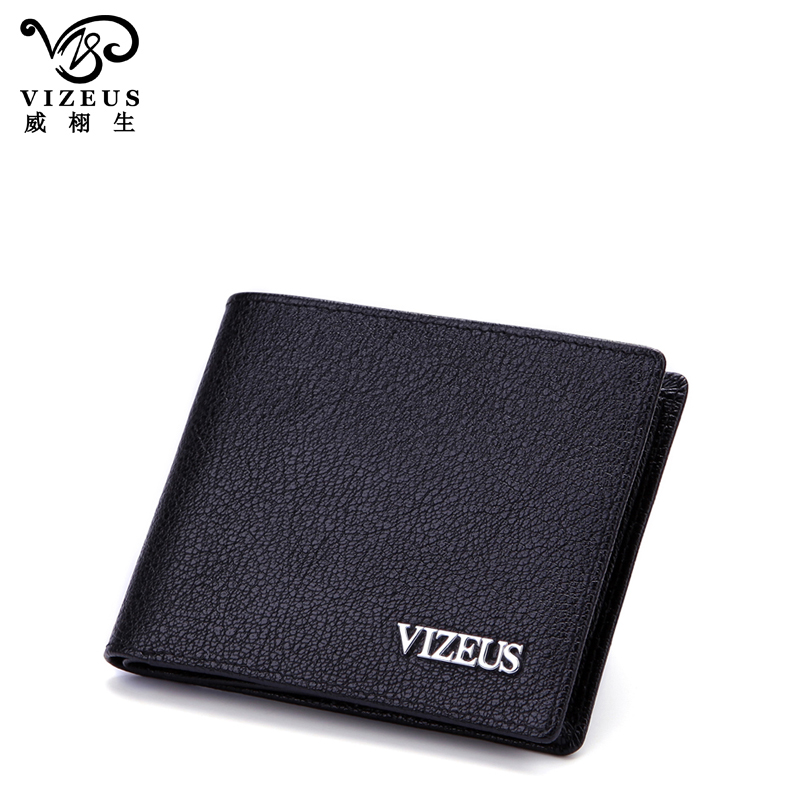 Vizeus hiswallet upscale business men leather wallet men short paragraph genuine cowhide wallet card package