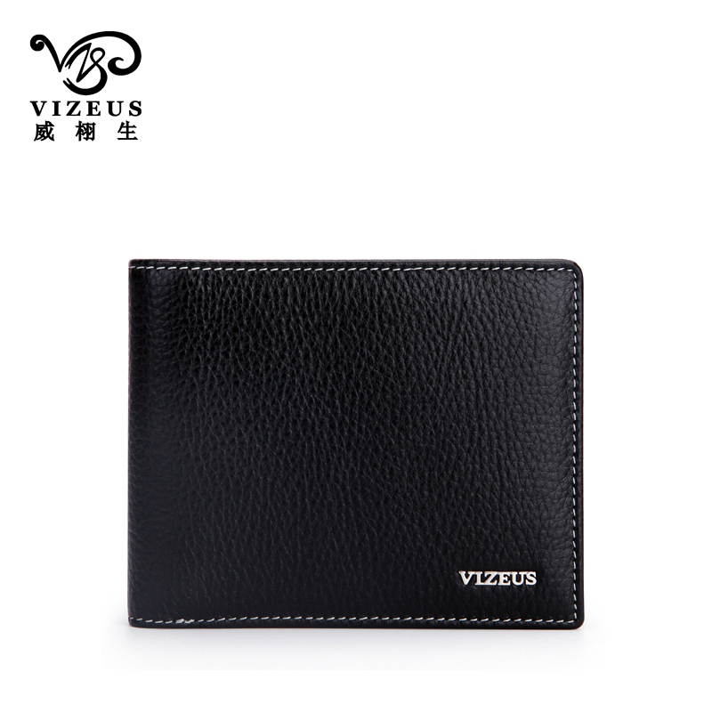 Vizeus new first layer of soft leather men's wallet men short paragraph leather purse wallet genuine fashion trends