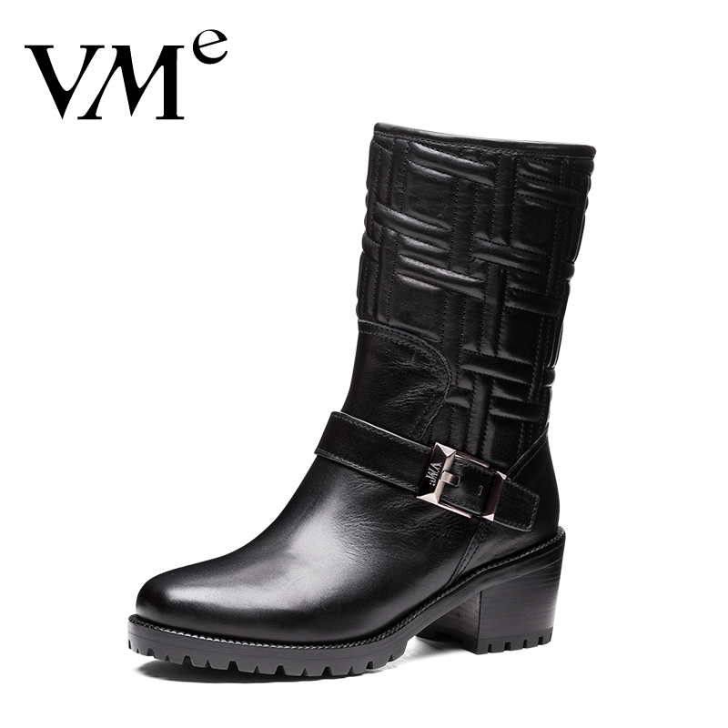 Vme/dance charm counter genuine new winter handsome black leather high heels ankle boots  v S4D5748