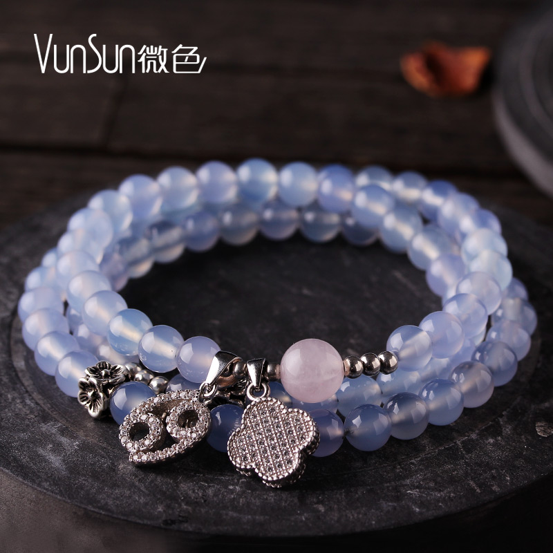 Vunsun white pink chalcedony agate bracelets constellation bracelet female korean version of a multi ring wrapped around the blue chalcedony jewelry