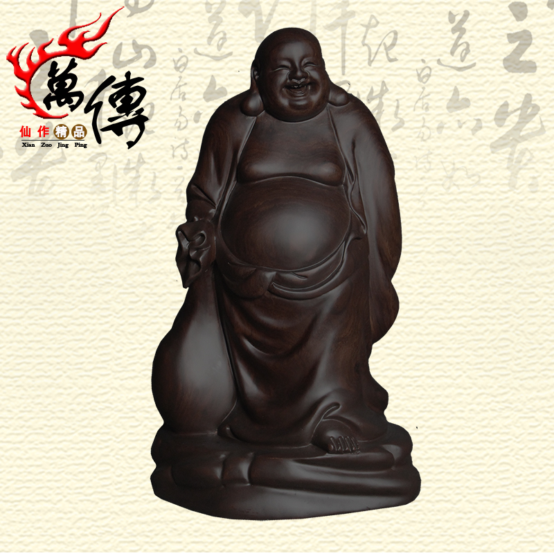 Wan chuan ebony bag maitreya buddha belly laughing buddha ornaments mahogany carvings lucky crafts jewelry at home