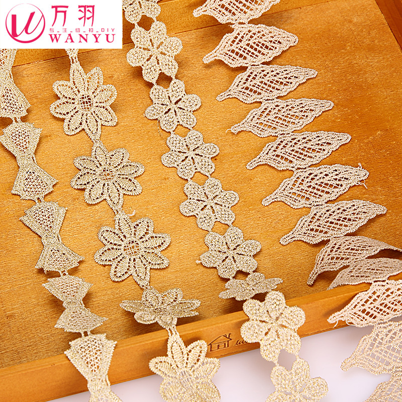 Wan yu gold thread embroidery lace bridal headdress bow hair ornaments material diy handmade lace accessories
