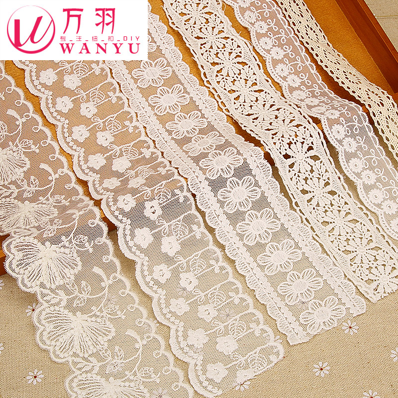 Wan yu white cotton lace accessories handmade diy accessories wedding dress embroidered sofa window curtain clothing materials