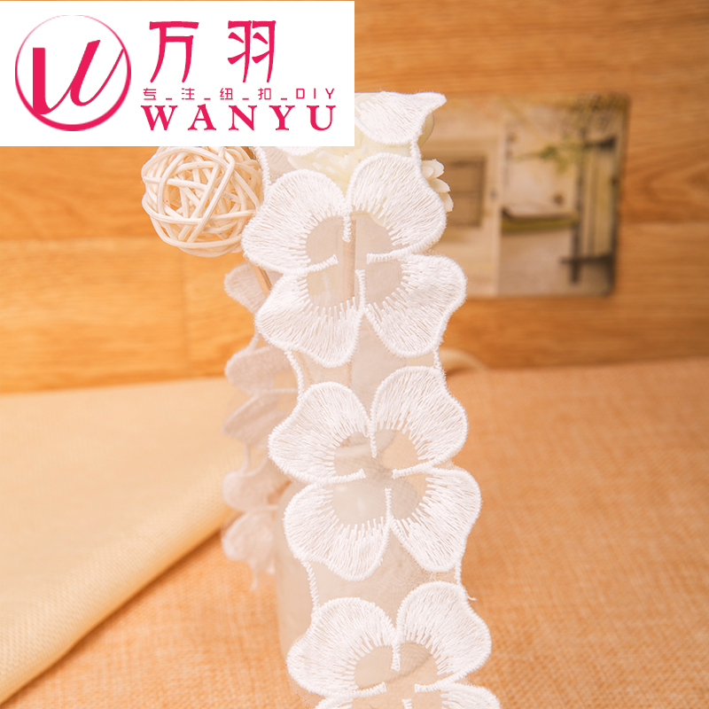 Wan yu white flowers in the shape of lace accessories handmade diy clothing fabric material ingredients exquisite embroidery