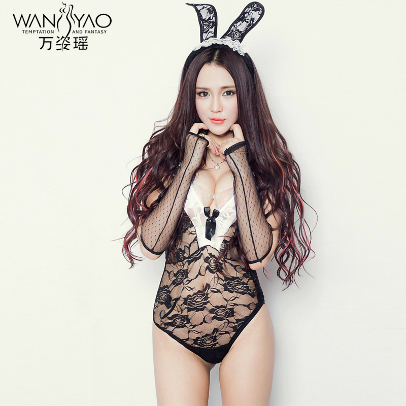 Wan zi yao big yards sexy lingerie suit contains adult sao transparent pajamas cute bunny dress uniforms