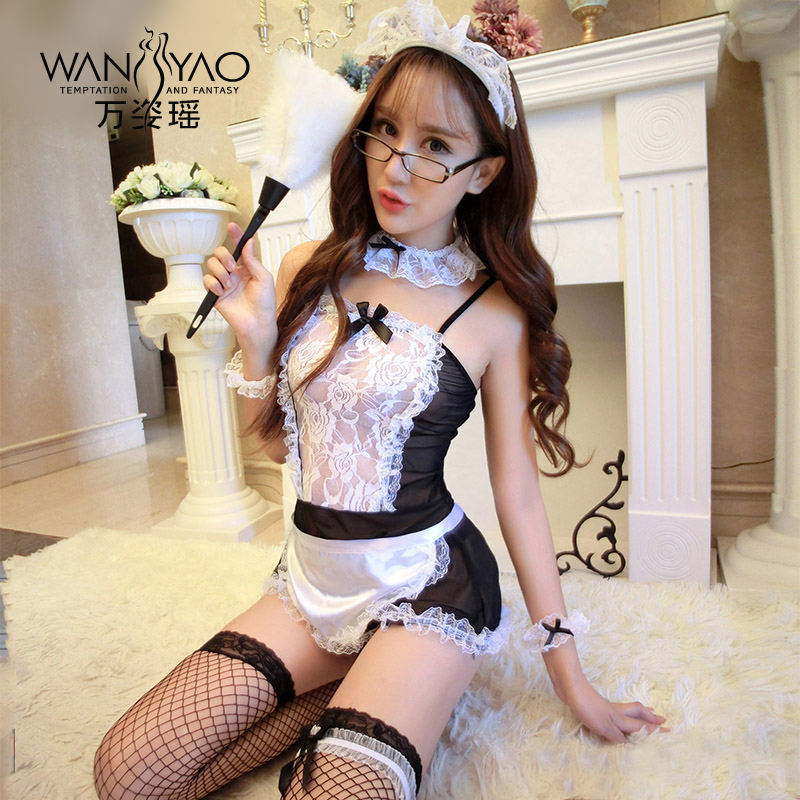 Wan zi yao female sao suit contains adult sexy lingerie sexy adult female servant maid dress uniforms temptation perspective pajamas