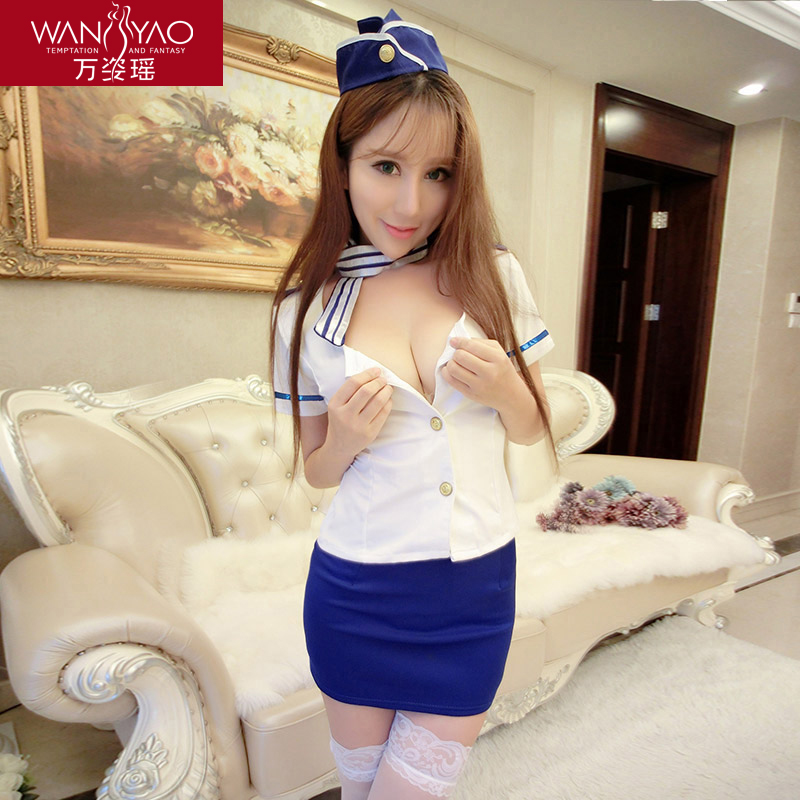 Wan zi yao sexy adult women sexy lingerie suit contains adult air stewardess dress uniforms temptation perspective pajamas