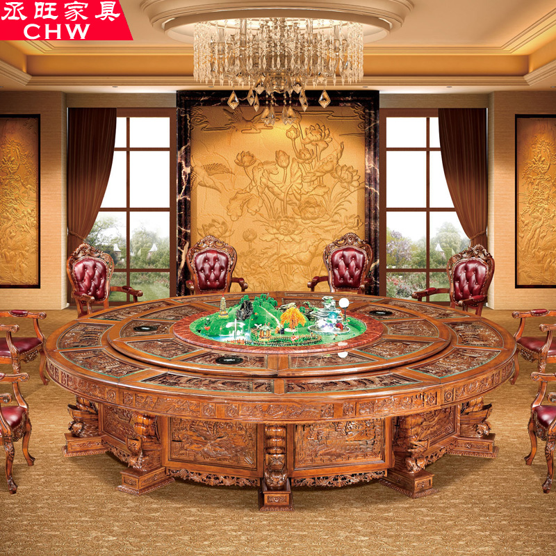 Wang cheng furniture mahogany dining table dinner table cooker electric fondue pot tables electric rotary table