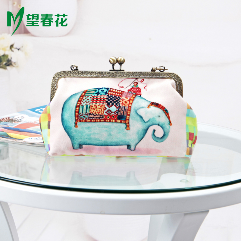 Wangchunhua cotton velvet mouth gold package diy material package of original personality handbags force holding flowers custom