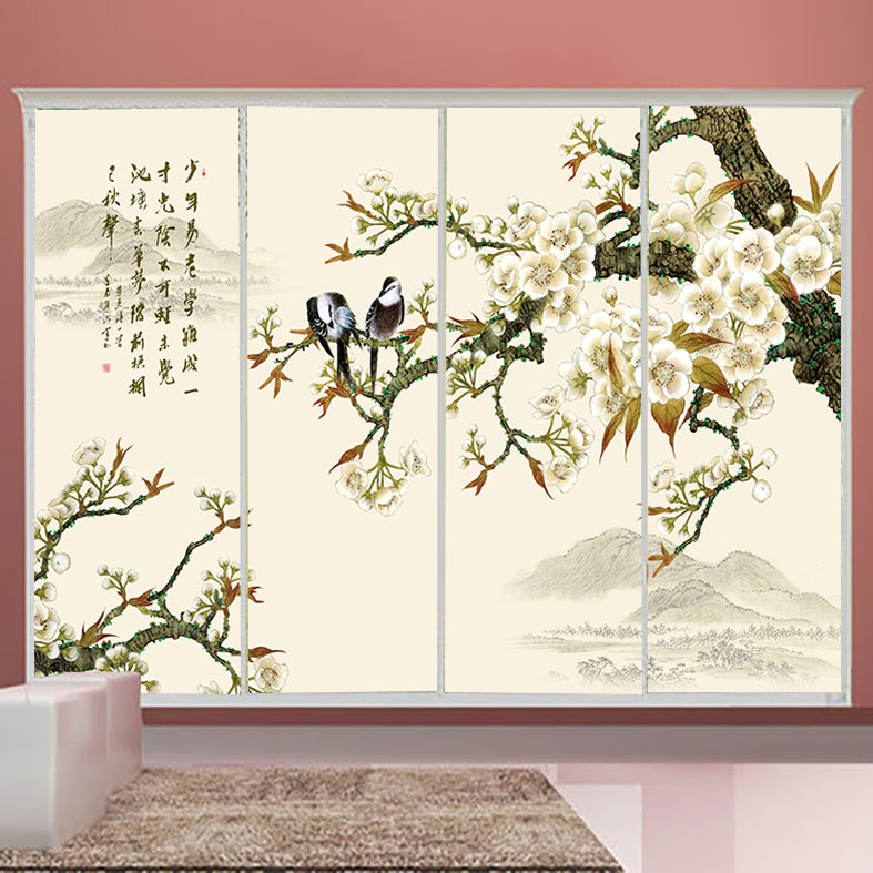 Wardrobe sliding door stickers klimts almirah film translucent frosted glass window stickers custom stickers bird and flower
