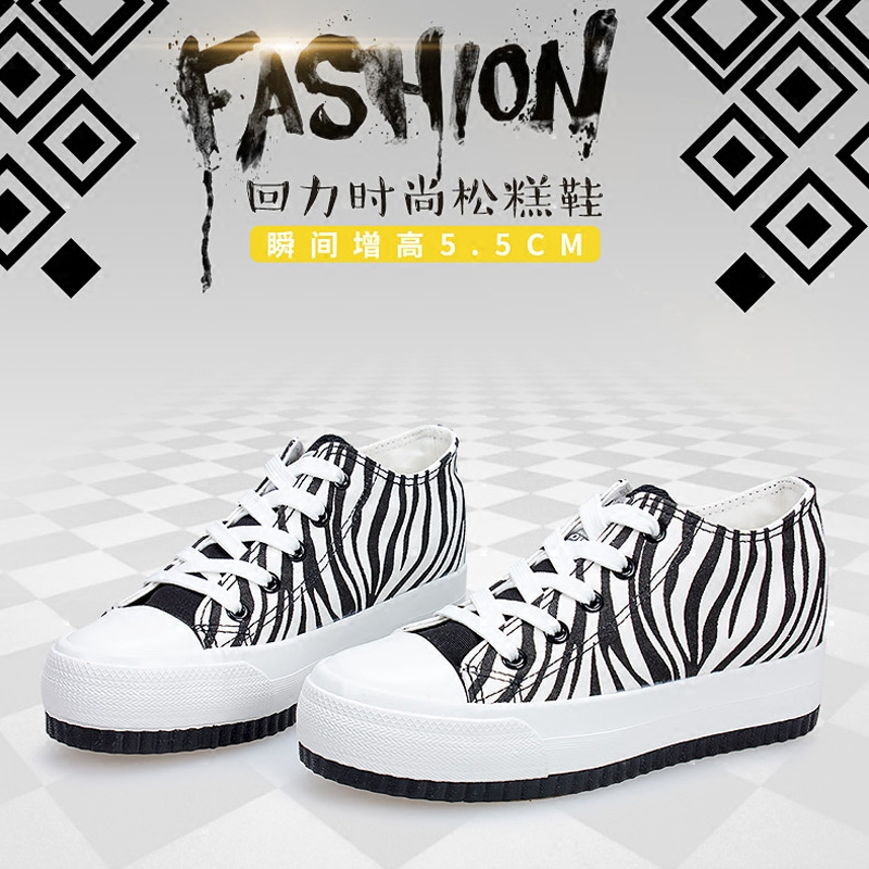 Warrior/warrior shoes spring zebra canvas shoes thick bottom muffin increased within the high shoes canvas shoes