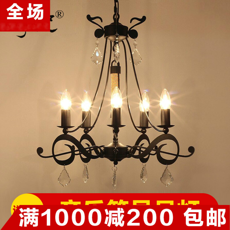 Wassignificantly and loft american country wrought iron chandelier crystal chandelier creative personality living room bedroom dining hall chandelier crystal chandelier
