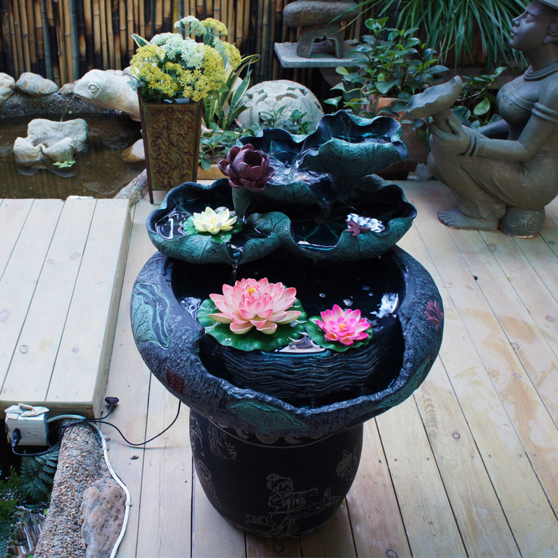 Water mill new chinese antique aquarium pond water fountain ornaments lucky crafts home decorations living room