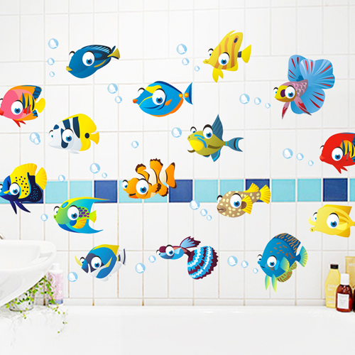 Waterproof bathroom shower room glass tile wall decoration removable sticker cartoon children's room wall stickers fish
