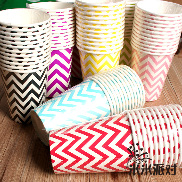Wave pattern tableware cups wedding wedding dress decorated and furnished baby birthday child birthday party supplies birthday dessert station
