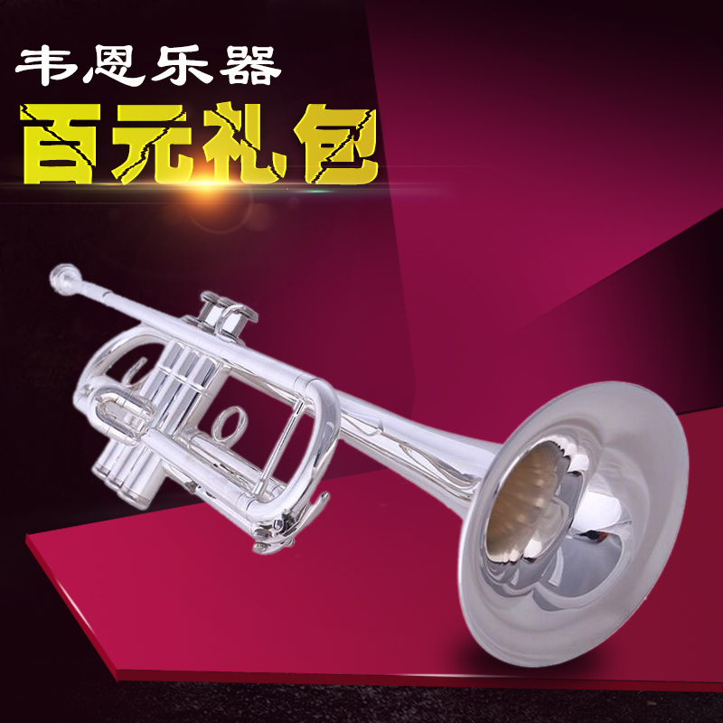 Wayne family genuine musical instrument trumpet silver plated brass trumpet tone number three professional playing free shipping