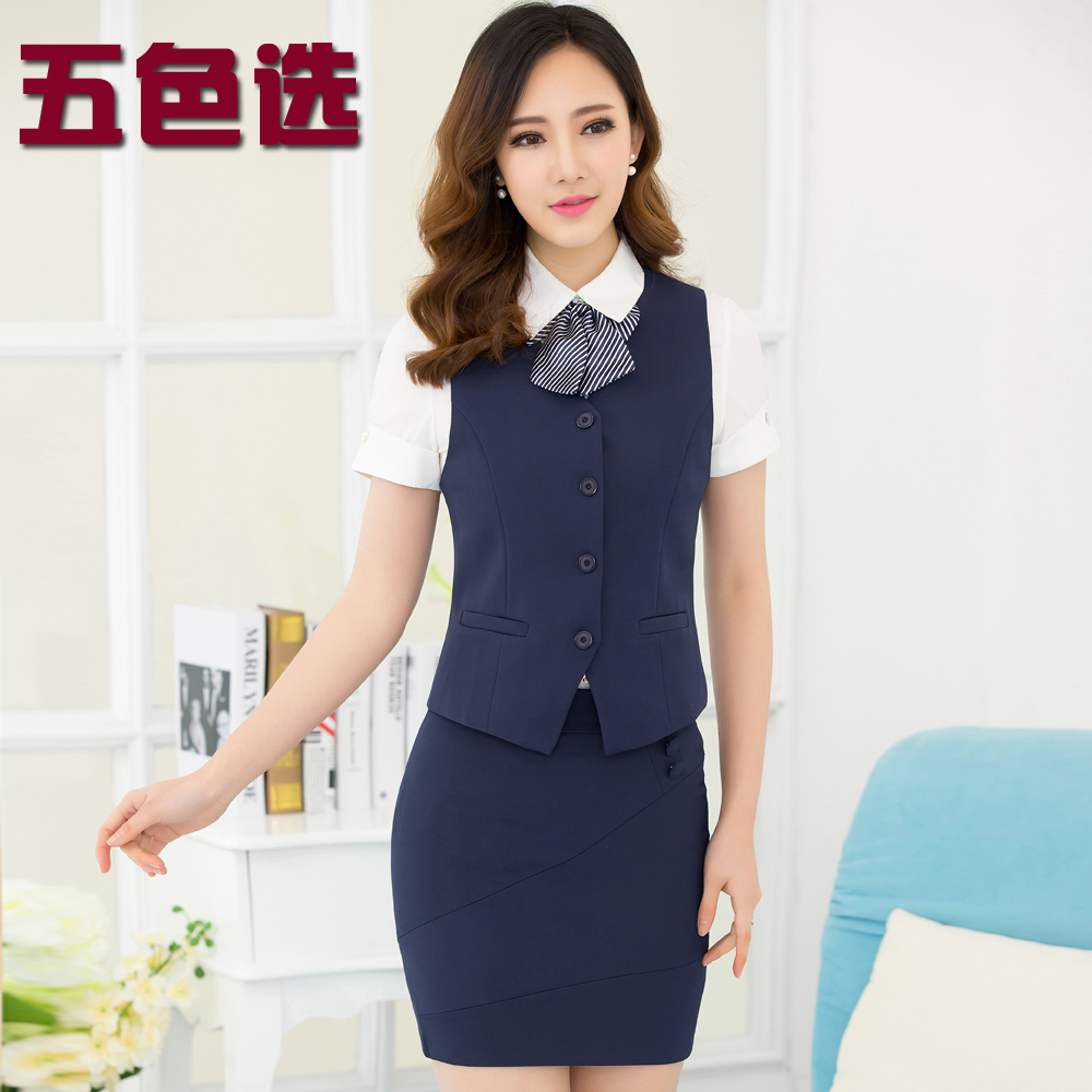 Wear female vest vest short sleeve suit female beauty salon hotel reception overalls summer stewardess uniforms summer dress