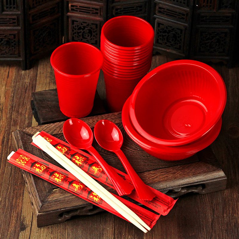 Wedding celebration wedding supplies disposable red cup red spoon red bowl chopsticks chopsticks festive wedding props