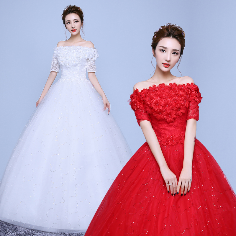 Wedding dress 2016 new korean qi word shoulder wedding dress big red bridal wedding wedding dress tutu korean
