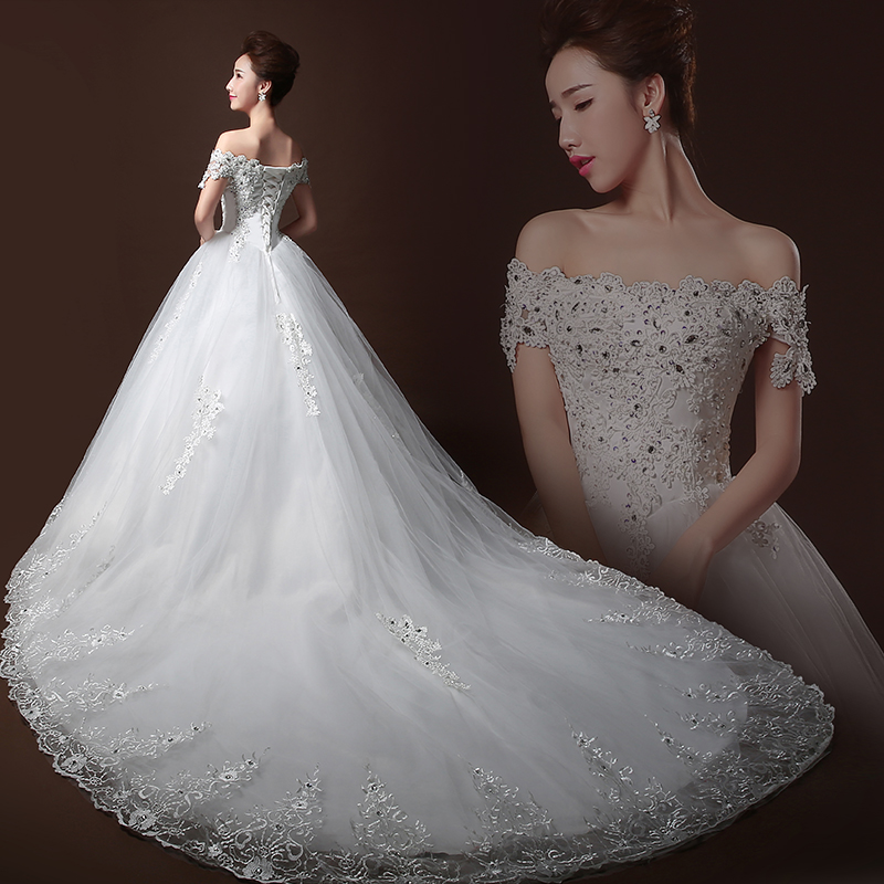 Wedding dress 2016 new summer korean qi word shoulder bride wedding dress trailing wedding dress large size women