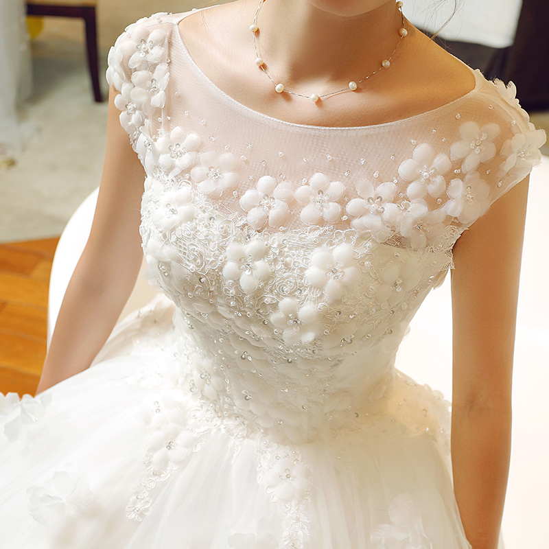 Wedding dress bridal flowers qi 2016 new korean princess wedding dress was thin big yards pregnant summer white