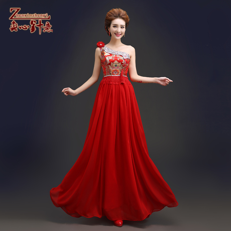 Wedding dress bride wedding toast cheongsam dress female summer long section of red chinese cheongsam fashion improved cheongsam dress was thin