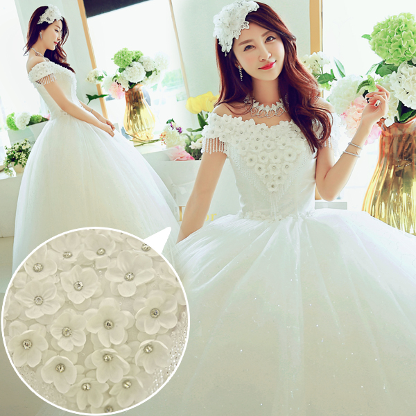 Wedding dress new 2016 korean version of spring and summer wedding dress qi word shoulder wedding dress sweet princess wedding flowers
