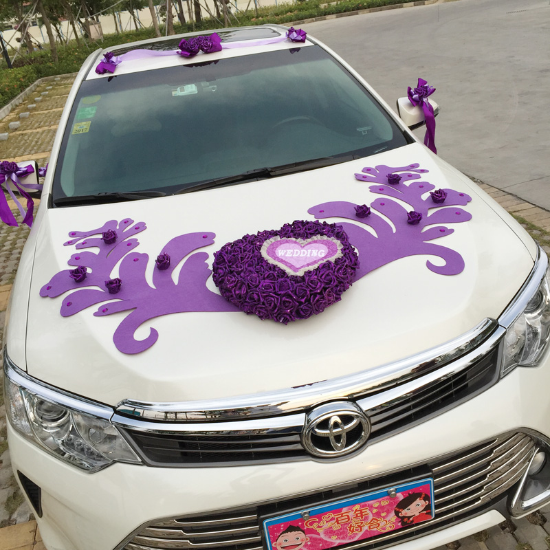 Wedding wedding car decoration wedding car decorated the front of the main car layout simulation roses korean creative personalized wedding products wedding