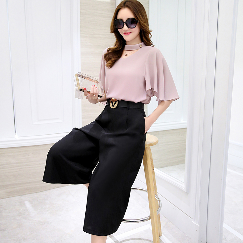 Week in and week wind color 2016 summer dress pant wide leg pants suit female summer summer fashion blouse piece