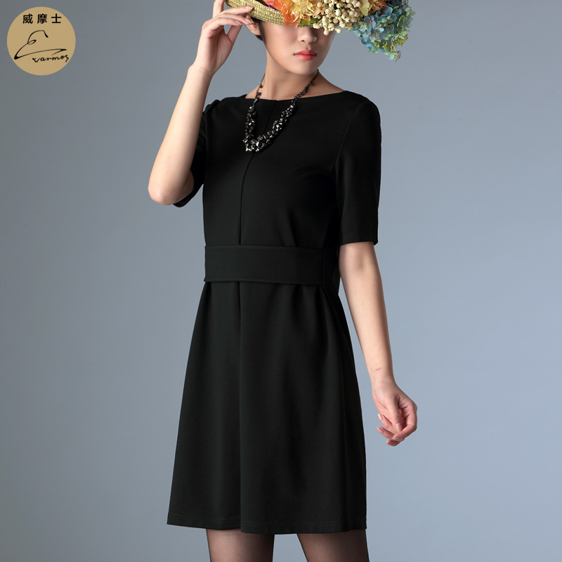 Wei moshi europe and america end slim a word was thin dress 2016 new spring and summer short sleeve dress career