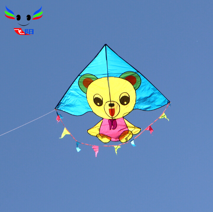 Weifang kite flying kite male children cartoon bear with a floating tail breeze easy to fly a kite easy to install with round wire