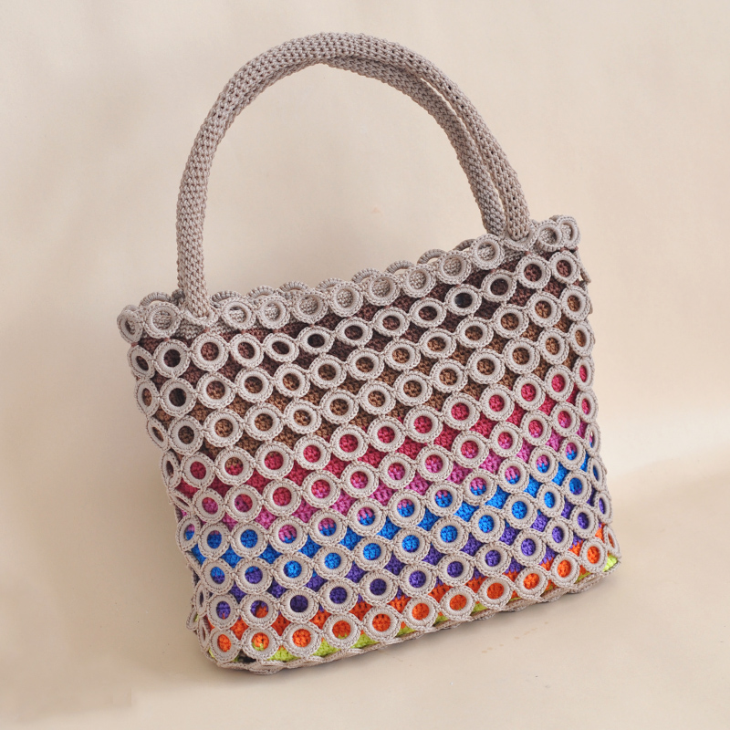Weiman big circle rainbow crochet hollow wire hook bag material package unfinished video tutorials