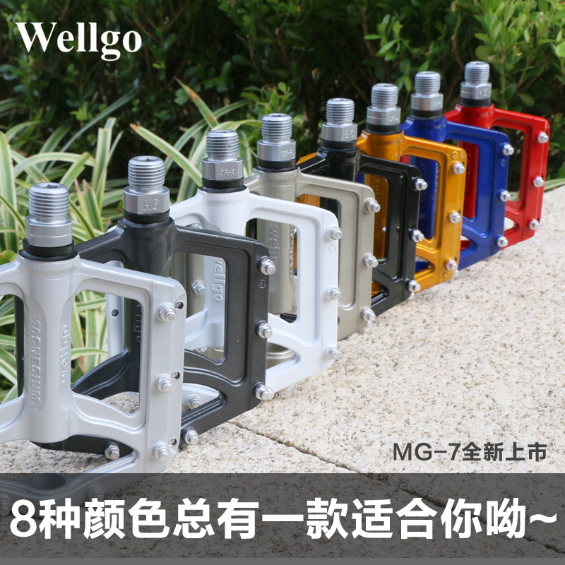Wellgo ludwig mg-7 aluminum magnesium alloy mountain bike pedal bearing bicycle pedal slip large size feet