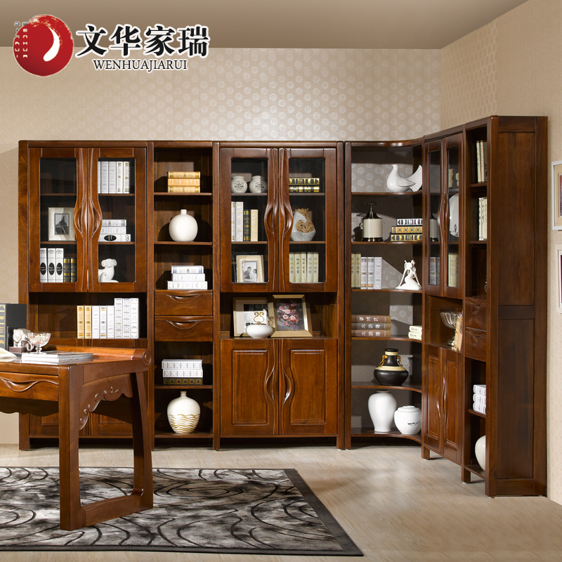 Wen hua jiarui credenza north american walnut wood corner cabinet all solid wood bookcase bookcase combination of chinese custom
