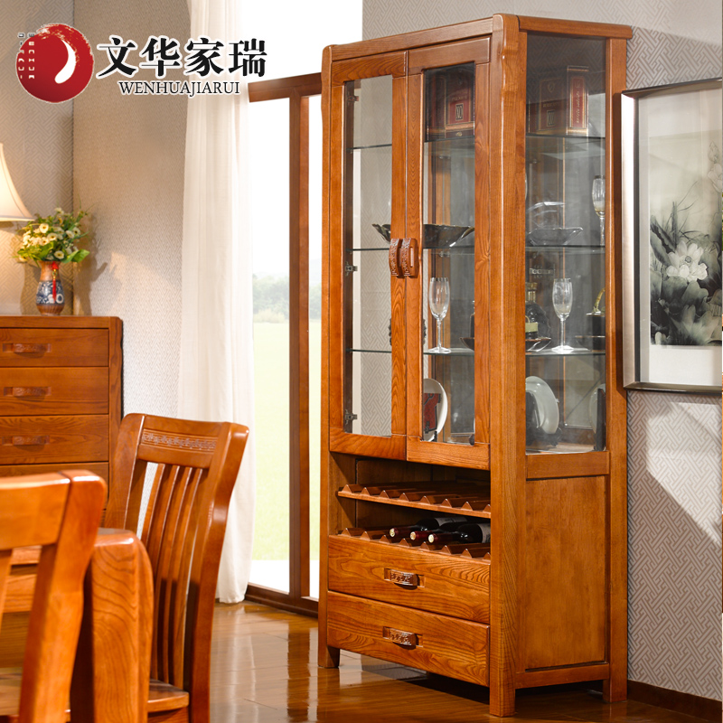 Wen hua jiarui north american ash solid wood wine cabinet lockers pear color chinese custom furniture