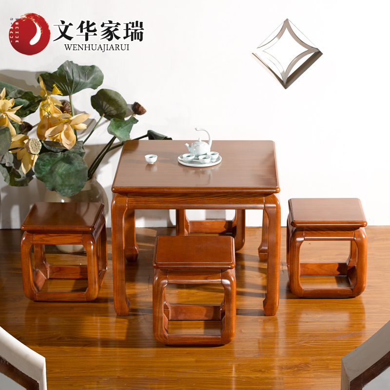 Wen hua jiarui north american ash wood coffee table tea tea sets tea chair all solid wood pear color custom furniture