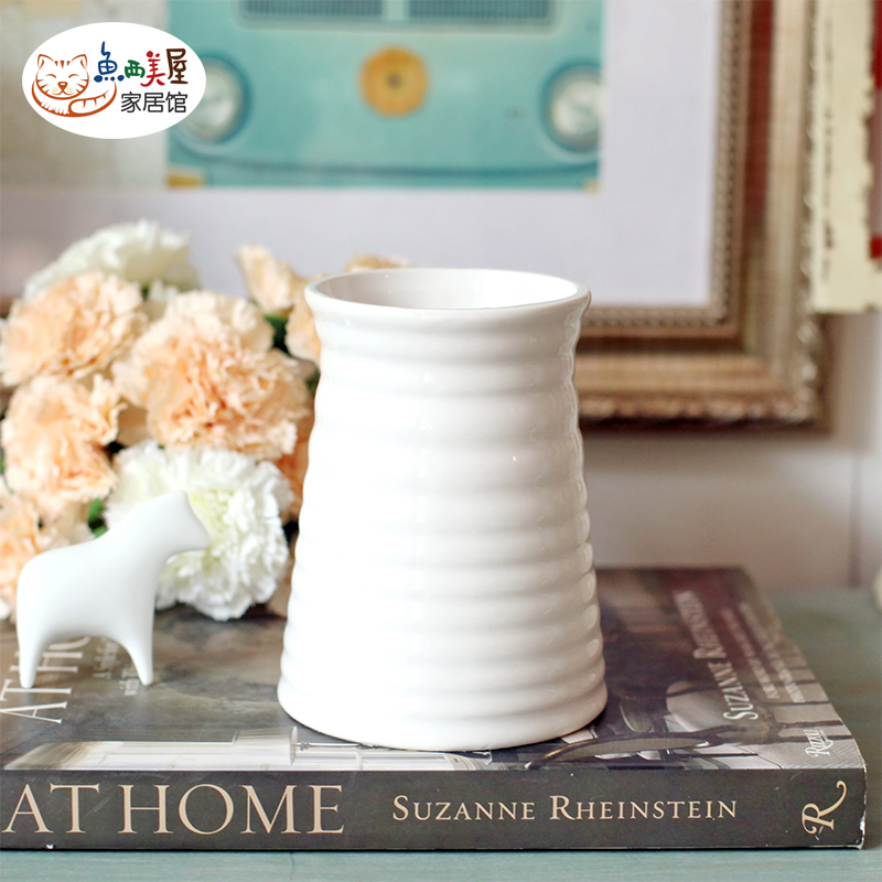 Western us fish house] [american country white thread ceramic vases decorative home accessories living room vase
