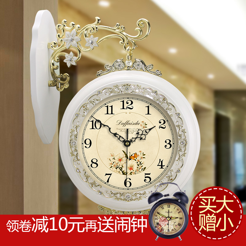 When love dot large european american living room minimalist sided bell wall clock on both sides of the day pastoral style wall clock quartz watches