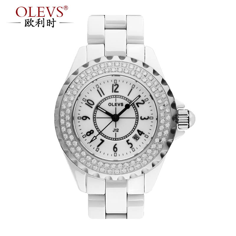 When orly (olevs) ms. ceramic watches ceramic female models natural pearl square sapphire crystal diamond
