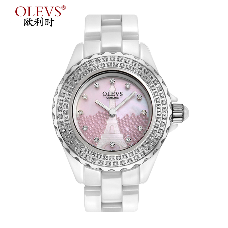 When orly (olevs) new crystal ceramic watches female tyrant gold ceramic female form quartz watch