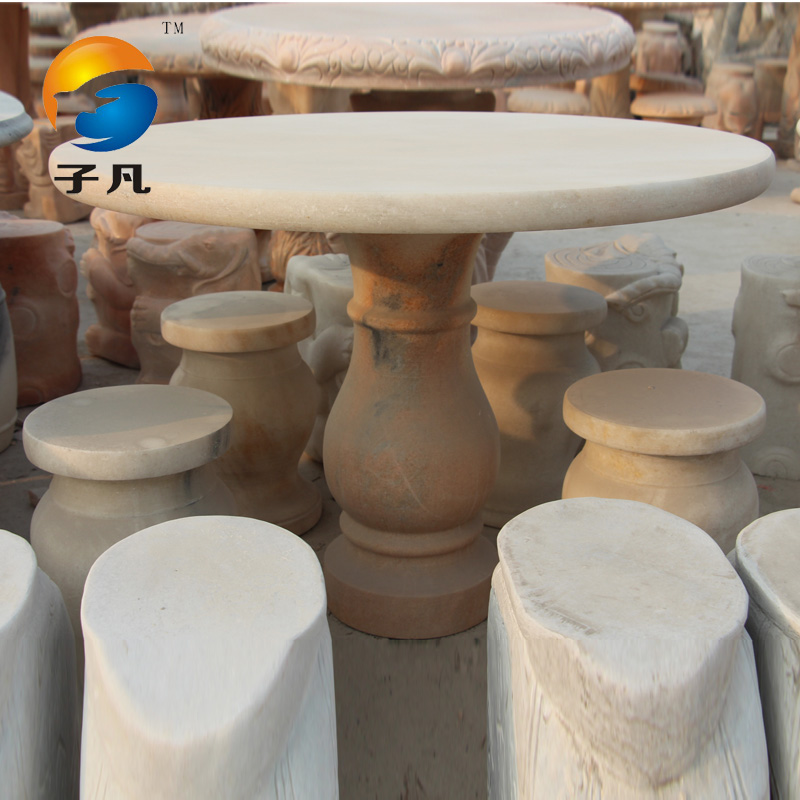 Where child tables and chairs courtyard garden landscape chinese natural sunset red stone carving stone ornaments danzhuoshideng benches zy09