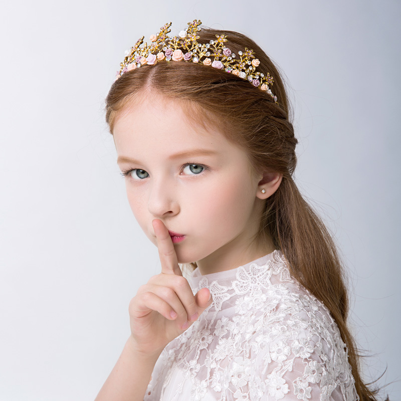 Where the cell to send new korean children's day queen tiara crown girls hair accessories princess tiara crown diamond and gold