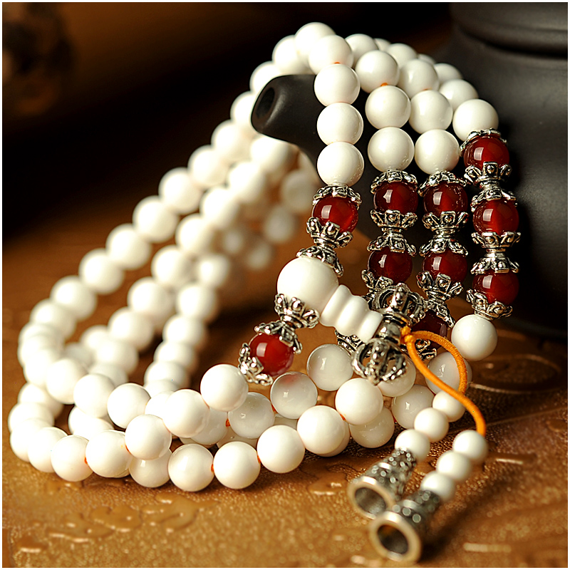 White clam multiturn female red agate beads tibetan silver bracelet 108 prayer beads bracelets wool clothes chain jewelry gift