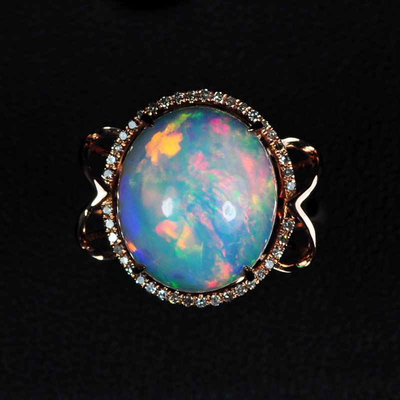 White k rose gold inlaid opal ring diamond inlaid white stunning color of fire opal cabochon