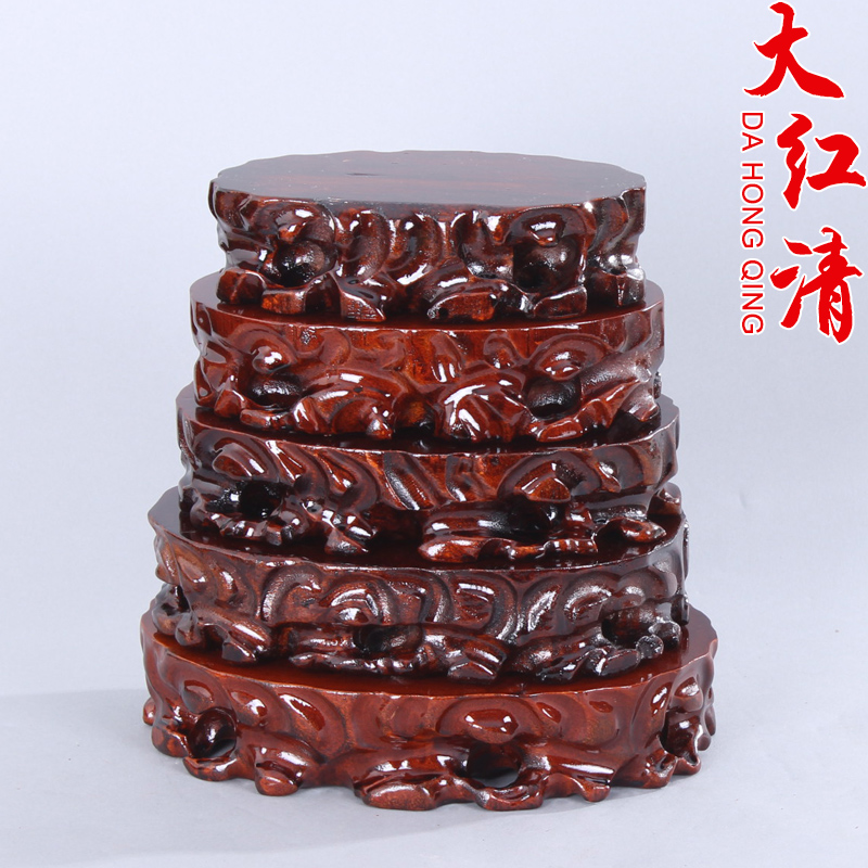 Wholesale jade stone ornamental stone ornaments carved mahogany wood quality stone pedestal base can trench solid wood base specials