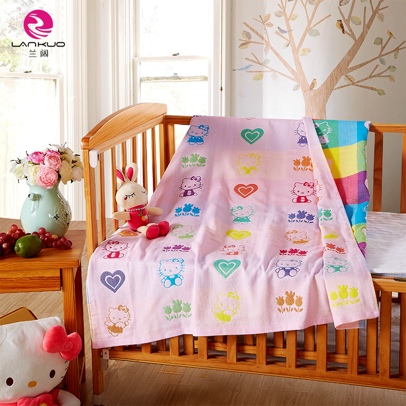 Wide blue 4 layers of gauze children towel cotton towel cotton towel single or double air conditioning blanket siesta