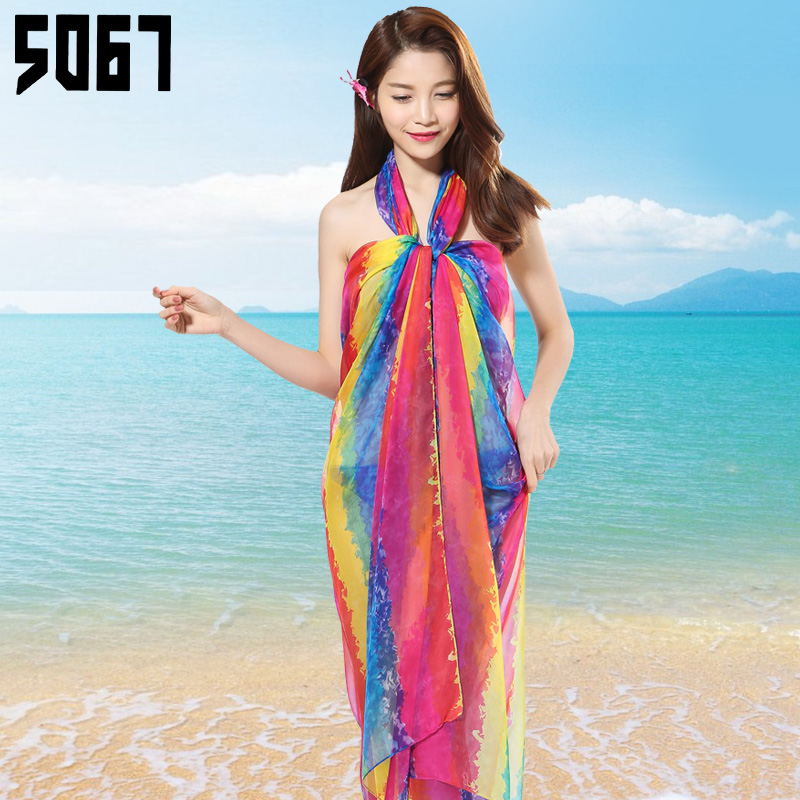 Wild striped scarf female spring chiffon scarf long section of ultra large seaside beach towel sunscreen shawl scarf summer