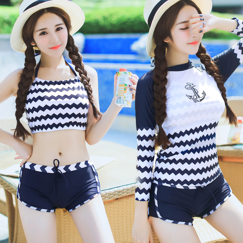44c3a9134e Get Quotations · Wind navy blue and white striped swimsuit female split  conservative sporty swimsuit boxer swimsuit cover the