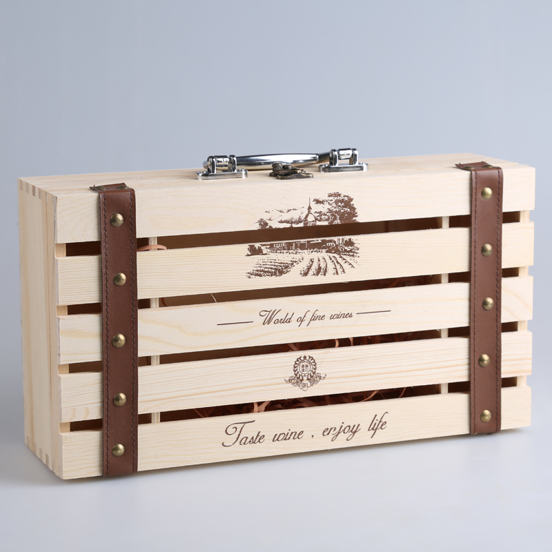 Wine box double vessel wooden wine packaging boxes made double vessel wine gift box set